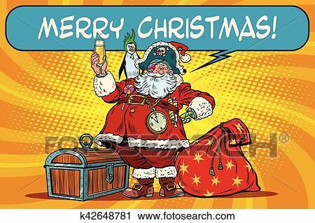 Clipart - weihnachtsmann, pirat, wünsche, frohe weihnacht k42648781 ...