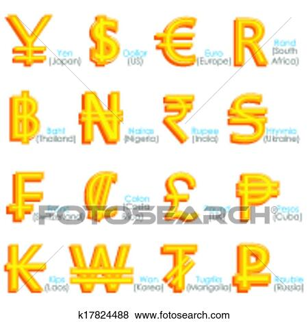 Clip Art Of World Currency Symbol K17824488 Search Clipart