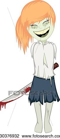 Zombie girl with surprise Clipart | k30376932 | Fotosearch