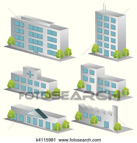 3d 建物 アイコン セット クリップアート切り張りイラスト