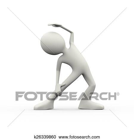 Stock Illustrationen - 3d, mann, interkostal, muskel, strecken ...