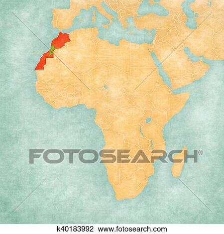 morocco on map of africa Map Of Africa Morocco Drawing K40183992 Fotosearch morocco on map of africa