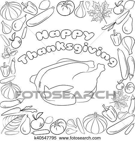 Clipart - otoño, gráfico, tarjeta, con, pavo, frutas y vehículos, en ...