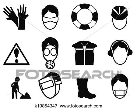 clip art of work safety icons set k19854347 search clipart