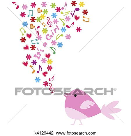 clip art of baby girl announcement card k4129442 search clipart