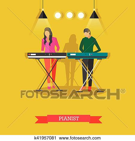 Boy And Girl Playing Electric Piano On Stage Young People Musical Instruments Vector Illustration In Flat Style