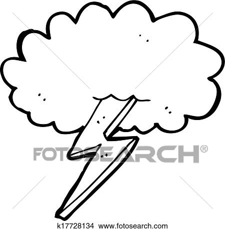 clipart of cartoon lightning bolt and cloud k17728134 search clip