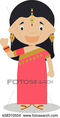 Character From India Indian Girl Dressed In The Traditional