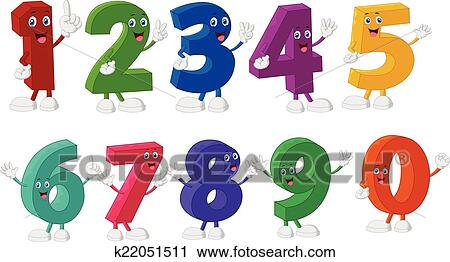 Vector Illustration Of Funny Numbers Cartoon Characters