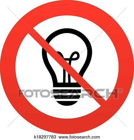 Clipart - nein, licht, lampe, zeichen, icon., idee, symbol ...