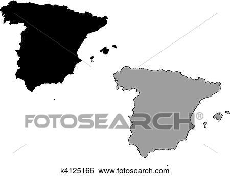 Spanien Karte Schwarz Weiß.Spanien Landkarte Clip Art