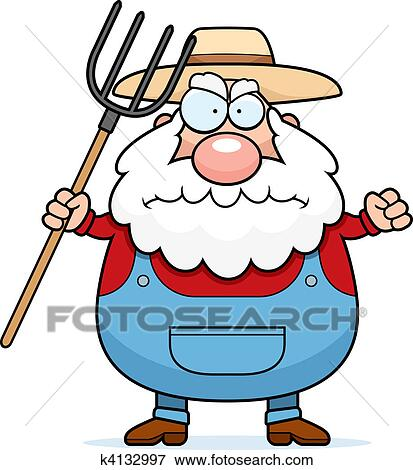 clip art of angry farmer k4132997 search clipart illustration rh fotosearch com clip art farmer sowing seeds clipart farm animals