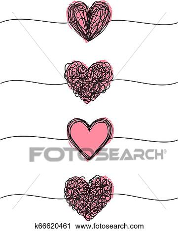 Banner with tangled grungy heart scribbles set Clipart ...