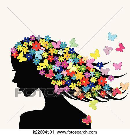 Clipart Belle Femme Profil Silhouettes à Fleurs Et Papillons