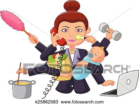Strange Cartoon Multitasking Housewife Clipart Interior Design Ideas Clesiryabchikinfo