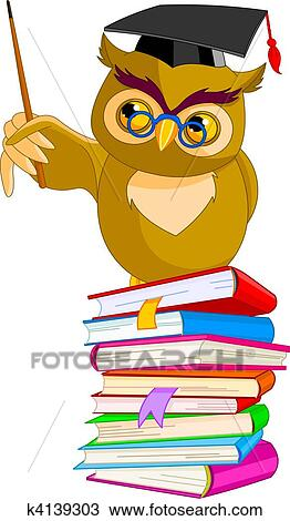 Clipart Of Cartoon Wise Owl K4139303