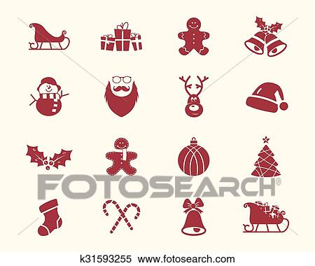 christmas happy new year and winter icons collection set of holidays symbols elements santa deer gift snowman candy toys for web app ptint