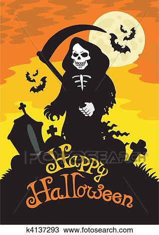 Halloween Thema.Halloween Thema Met Onverbiddelijke Reaper Clipart