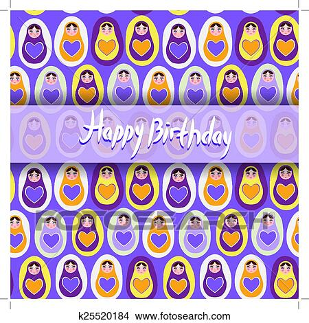 Happy Birthday Card Pattern Orange Russian Dolls Matryoshka On A