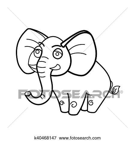 Clip Art - libro colorear, elefante, animal africano, caricatura ...