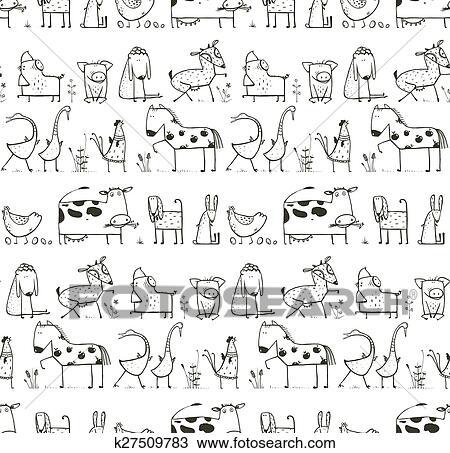 Clipart - lustig, karikatur, bauernhof, haustiere, Seamless, muster ...