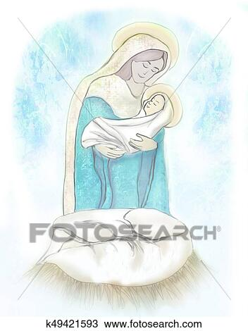 Disegno Madonna Bambino Gesù K49421593 Cerca Clipart