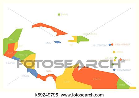 Map of Central America and Caribbean. Simlified schematic vector map in  four color scheme Clipart