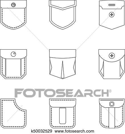 Pocket form icon set, outline style Clip Art