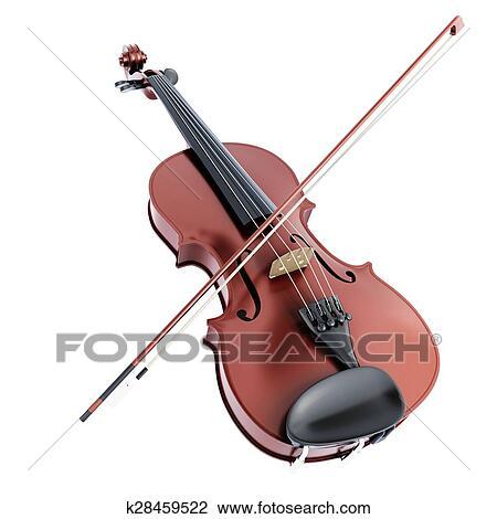 Violino E Arco Ligado Um Fundo Branco Desenho K28459522
