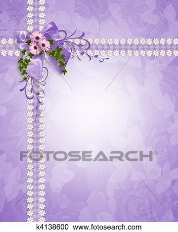 Wedding Invitation Lavender Daisies Clipart K4138600