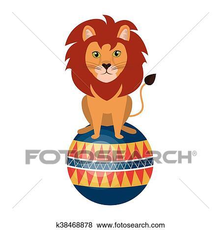 サーカス ライオン 動物 漫画 デザイン ベクトル Illustration