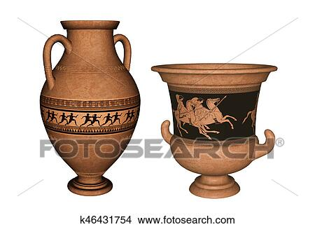 Drawings Of Ancient Greek Vases 3d Rendering K46431754 Search