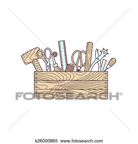 Clipart Of Craft Tools In Toolbox Vector Illustration K26000865