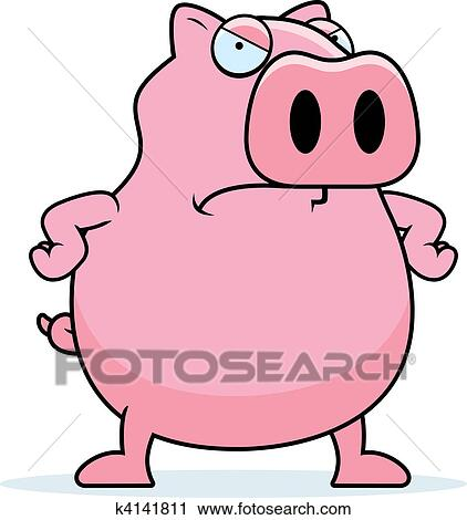 Clipart f ch cochon k4141811 recherchez des clip - Dessin cochon debout ...