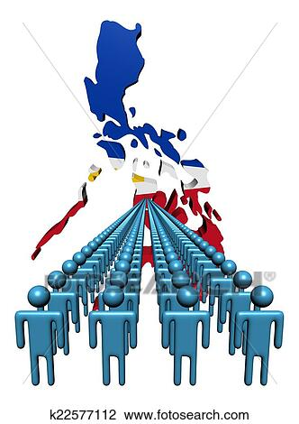 e0451d21609e1 Drawing - Lines of people with Philippines map flag illustration. Fotosearch