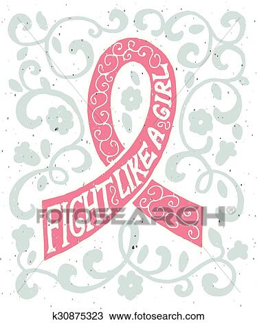 Pink Ribbon With Hand Drawn Typography Poster Clipart K30875323