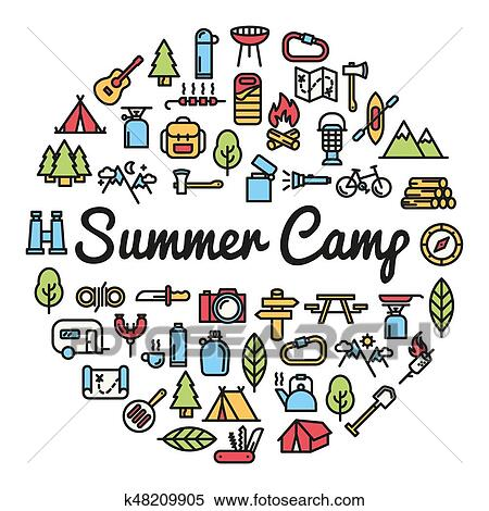 stock illustration of summer camp word with icons illustration