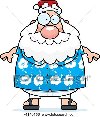 Clip Art Of Summer Santa K4140156