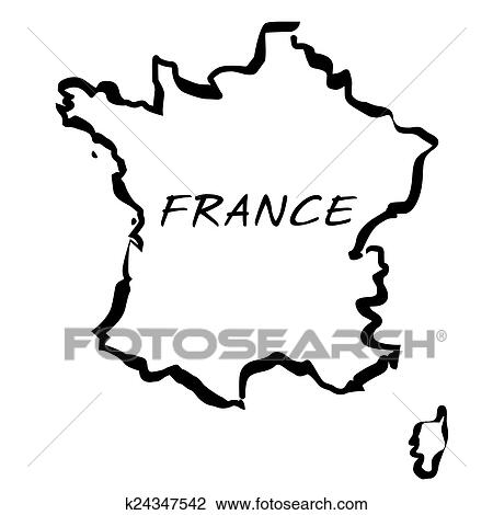 Map Of France Drawing.Vector Drawing Map Of France Clipart