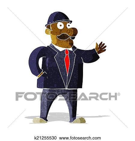 Clipart Of Cartoon Sensible Business Man In Bowler Hat K21255530