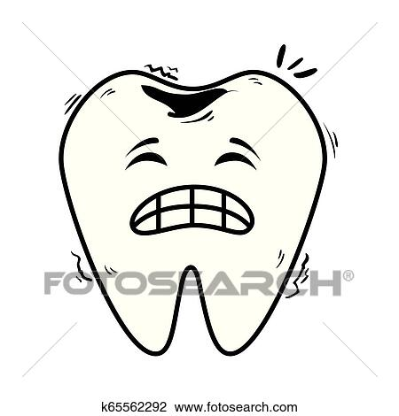 Clipart Of Comic Tooth Sad Kawaii Character K65562292 Search Clip