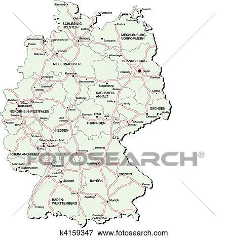 Deutschland Autobahn Landkarte Clip Art K4159347 Fotosearch