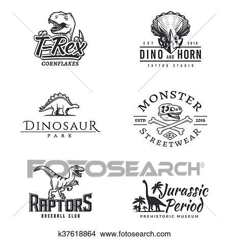 clipart of dino logo set dinosaur logotype raptor sport mascot