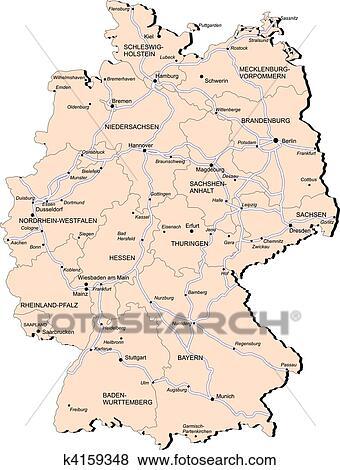 Duitsland Spoorweg Kaart Clipart K4159348 Fotosearch