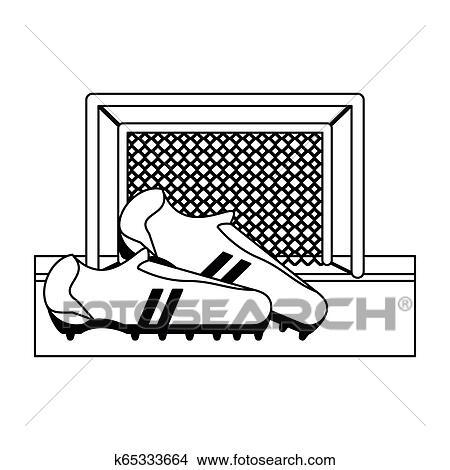 Fussballspiel Sport In Schwarz Weiss Clipart K65333664