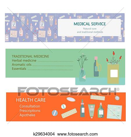Medical Banners For Herbal And Traditional Medicine Clipart K29634004 Fotosearch
