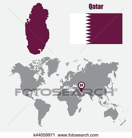 Qatar map on a world map with flag and map pointer. Vector ...