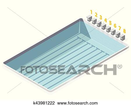 Swimming pool isometric. With numbers starting positions of ...