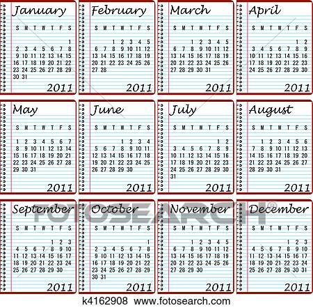 2011 Calendar On Spiral Notebooks Clip Art K4162908 Fotosearch
