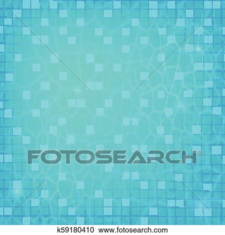 Blue ripped water, top view. Texture of water in swimming pool, flat lay  view. Reflexion on the water surface. Vector template for events, posters,  ...